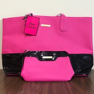 Juicy Couture Tote & Cosmetic Bag Pink w/Sequins